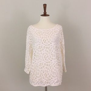 Ann Taylor LOFT White Lace Top 3/4 Sleeve
